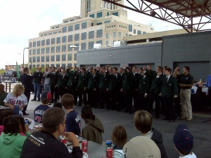 The UND Varsity Bards entertaining picnic guests at the UND Day at the Dome